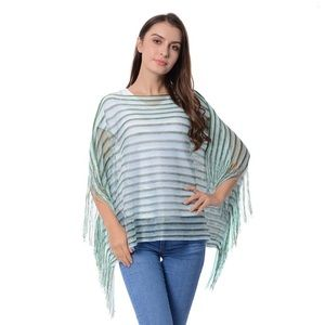Accessories - Green Stripe Pattern Fringed Poncho